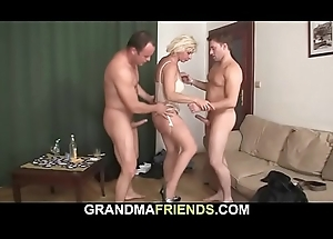 Sexy triune sex with fair-haired full-grown sweeping