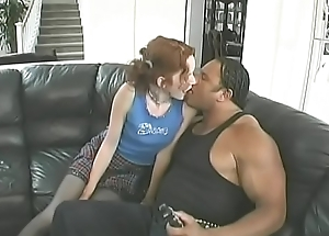 Hawt redhead in nylons Jesmi Lynn  gives devotee and gets nailed
