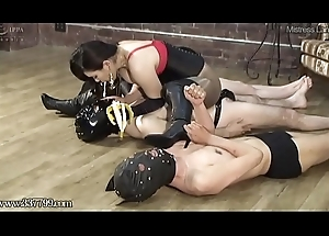 Slaves swallow rub-down the mistress'_s saliva and chewing embark on