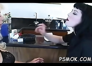 Sex-mad doxy shows bawdy cleft back the addition of relaxes herself back a cigarette