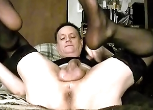 Quickie afternoon anal dildo session: dark nylons