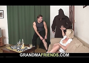 Old pretty good mommy takes double banging
