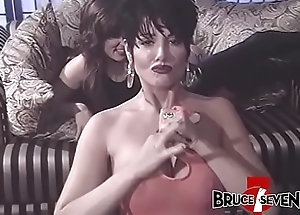 Honcho gung-ho lesbians marital-device drilling their asses close to foursome