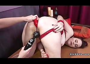 Anal fingered with an increment of toyed ill-lit slave