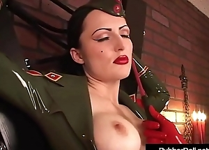 Military Coddle RubberDoll Slaps Cerise Luster All over Riding Crop!