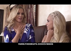 FamilyHookUps - Stepmom Trains Daughter alongside Dildo