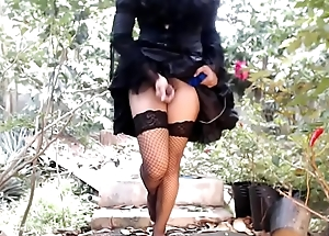 Outdoors sissy Ladyboy dick provocation it