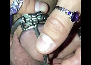 Sissy locked in a garments and Abstinence contraption